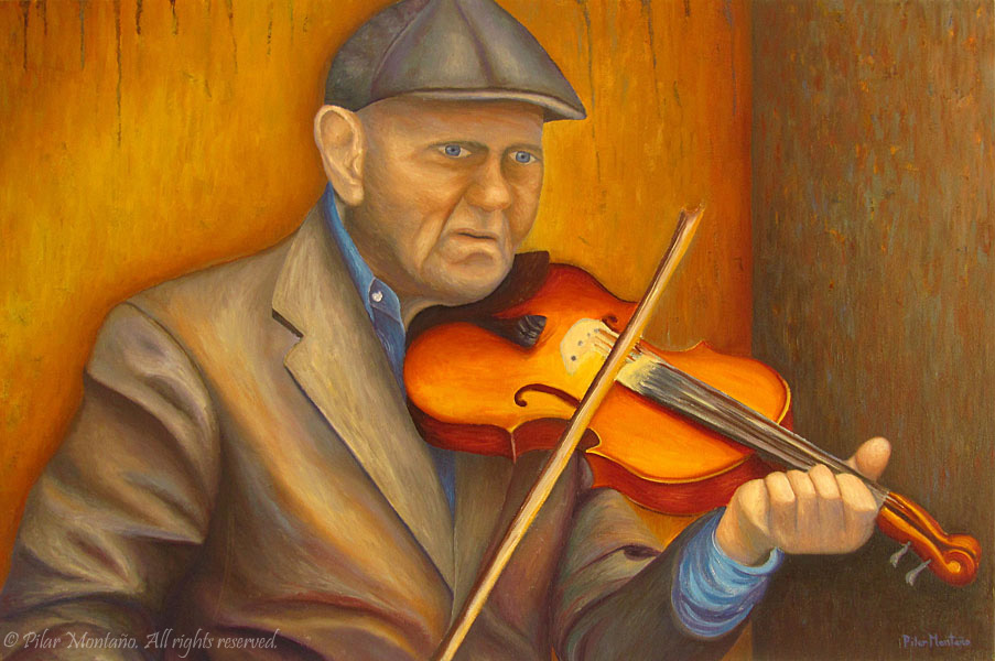 "Violin Man | Oil on Canvas | 24"" x 36"""