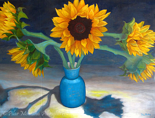 "Blue Sunflowers | Oil on Cardboard | 35"" x 46"""