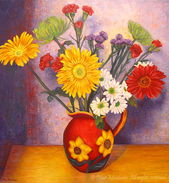 "Country Flowers | Oil on Canvas | 32"" x 30"""