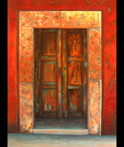 "Red Door | Oil on Canvas | 40"" x 30"""