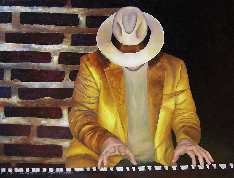 "Piano Man | Oil on Canvas | 48"" x 36"""