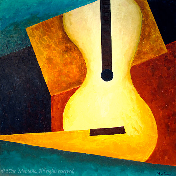 "Rhapsody Guitar | Acrylic on Canvas | 24"" x 24"""