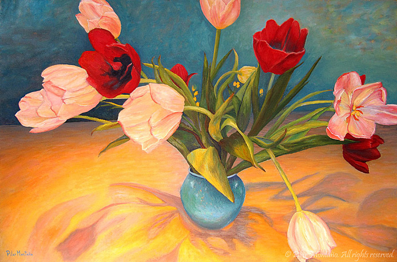 "Tulipanes | Oil on Canvas | 24"" x 36"""
