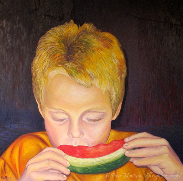 "Watermelon Boy | Oil on Canvas | 36"" x 36"""